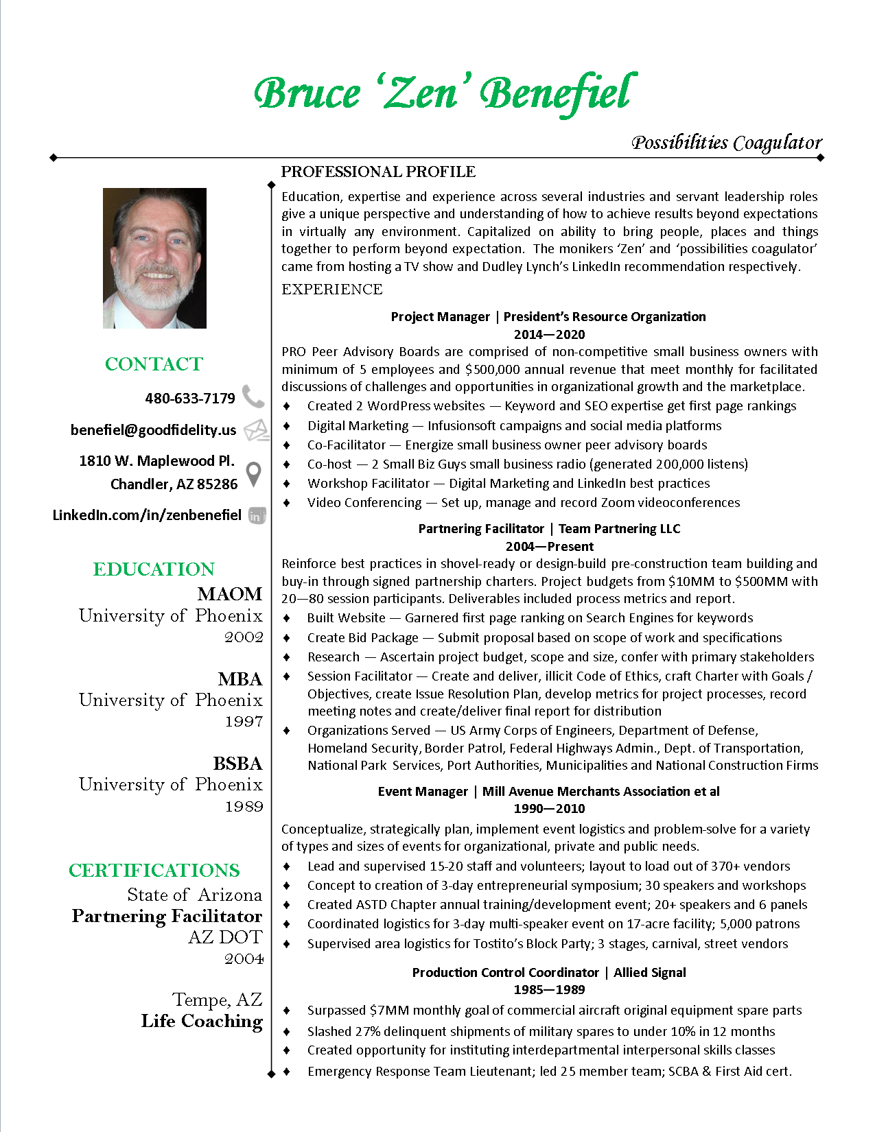 zen benefiel project management resume
