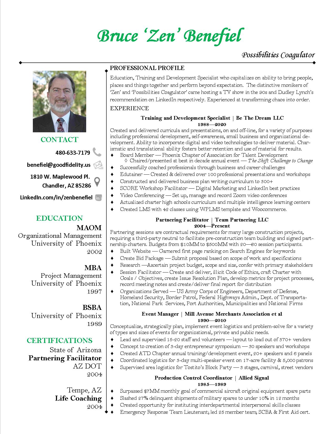 zen benefiel training and development resume